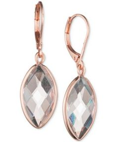 Anne Klein Rose Gold-Tone Crystal Marquise Drop Earrings