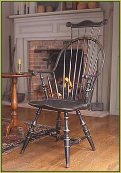 FARMHOUSE – INTERIOR – early american decor inside this vintage farmhouse seems perfect like this windsor chair. #MadeinAmerica and #MohawkAllAmerican