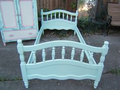 Vintage Twin Light Aqua Bed by antique2chic on Etsy, $225.00