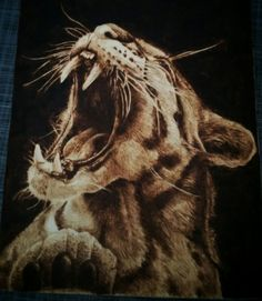 """leopard"" pyrography on poplar wood, Andrea Cabras"
