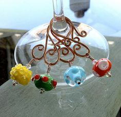 Wine Glass Charms Summer Fun Lampwork Bead and by TwistedTinkers, $25.00