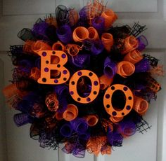 BOO...Spiral Deco Mesh Wreath by ADoorableCreations05 on Etsy, $50.00