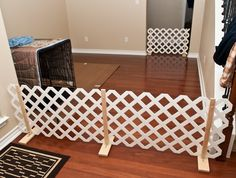 Homemade pet gate-- great starting point, maybe modify w/ hinges for easier storage