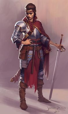 RPG Female Character Portraits female knight / fighter / warrior with sword, plate armour