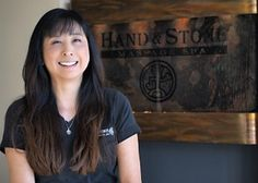 "Eriko is a graduate of the Southwest Institute of Healing Arts. ""While doing Yoga I developed a problem with my rotator cup and massage was part of my healing therapy"", she explains. ""I didn't think the massage therapist was doing a very good job and I thought maybe I could do this better. I love being a massage therapist and the ways I can help other people feel better. For me it's kind of like a meditation in action."" Book: http://bit.ly/HandStone_Eriko"
