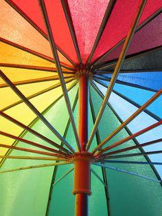 Rainbow Umbrella, just in case it rains on your rainbow wedding day
