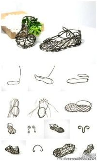 how to make metal doll shoes Wire Crafts, Metal Crafts, Jewelry Crafts, Wire Wrapped Jewelry, Wire Jewelry, Jewellery, Gold Man, Fairy Shoes, Wire Tutorials