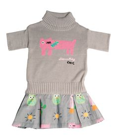 Look at this #zulilyfind! Lourdes Gray Cat Turtleneck Dress - Infant, Toddler & Girls by Lourdes #zulilyfinds