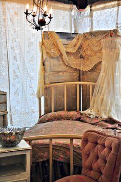 Great Headborad Old Doors And Vintage Lace Lovely Gypsy Decor