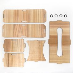 wooden tissue box case parts which is assebly type laser cut in cedar thinning of Japan