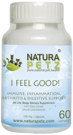 Natura Petz I Feel Good Immune Inflammation Arthritis and Digestive Support for Pets 60 Capsules Extract 150mg Per capsule -- For more information, visit image link.