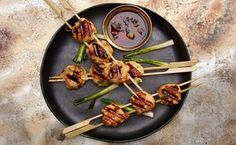 Sumo Stew- Meatball Skewers / Photo by Chelsea Kyle, Prop Styling by Alex Brannian, Food Styling by Ali Nardi Pork Recipes, Asian Recipes, Chicken Recipes, Cooking Recipes, Chicken Ideas, Asian Foods, Grilling Recipes, Recipies, Miso Recipe