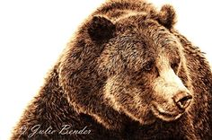 "Renaissance Man (grizzly bear) by julie bender Pyrography ~ 12"" x 18"""