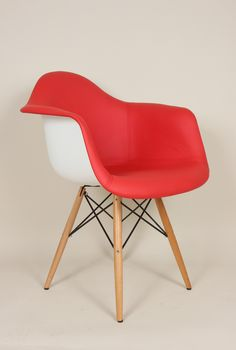 Mid Century Arm Chair with vinyl covered seat and Wooden Dowel Legs Red White