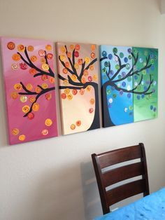 Seasons Tree in Acrylic Paints - considering trying this for our apartment cuz its ardobs!!