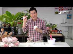 How to pipe rose on cupcake  วิธีการแต่งหน้าคัพเค้กดอกุหลาบ และการล้างหัวบีบหลังใช้งาน = แช่น้ำร้อน