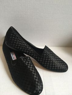 a0cd9c1e81104 Unisa Women s Black Leather and Black Satin Weaved Slip on Shoe Made for  Talbots Brand New and never worn Black Satin Weaved Leather Slip on shoes.
