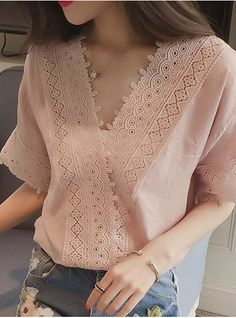 Women Casual Simple TShirt Lace Hollow Loose AllMatch Tops Size M Color pink Fancy Dress Design, Stylish Dress Designs, Stylish Dresses, Kurti Neck Designs, Blouse Designs, Fashion Pants, Fashion Outfits, Short Sleeve Collared Shirts, Sewing Blouses