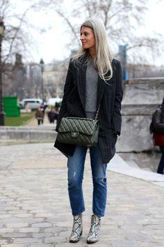 Oversized pinstripe blazer + grey T-shirt + blue jeans + snakeskin boots