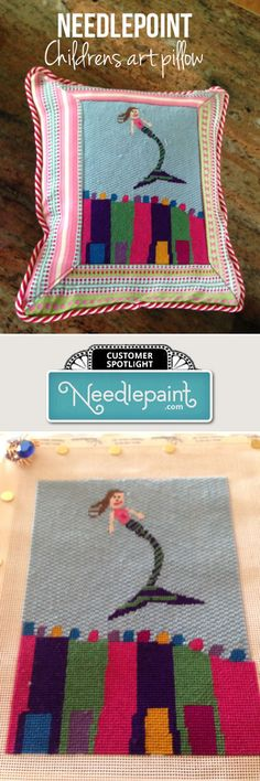Fancy stitches and great boarders make this custom #needlepoint pillow a true…