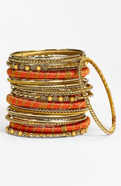 Cara Accessories Metal & Fabric Mixed Bangles (Set of 24) available at Nordstrom