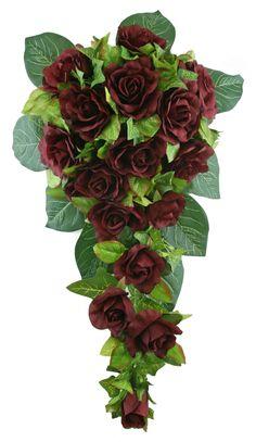 Burgundy Silk Rose Cascade