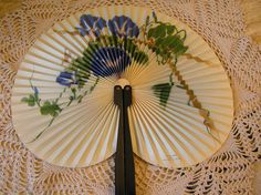Vintage Paper Fan With Blue  Flowers and Green Folage, Accordian Fan, Collector's Item by SterlingHeirloom on Etsy