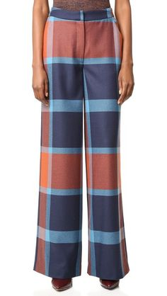 Rust/Royal Multi Tanya Taylor Blanket Plaid Ashland Pants