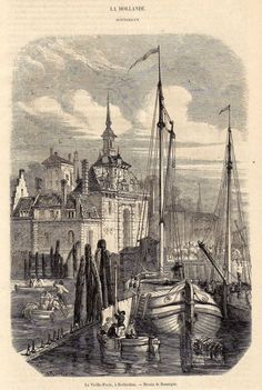 Antique print gate Rotterdam Holland 1858 stampa antica