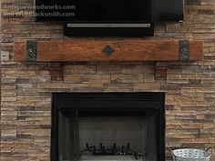 Fireplace Mantels with Metal Straps and Iron Accents part 1 – Antique Woodworks Rustic Fireplace Mantle, Reclaimed Wood Mantel, Fireplace Beam, Brick Fireplace Makeover, Wood Mantels, Rustic Fireplaces, Stone Fireplaces, Screened Porch Designs, Rustic Home Design