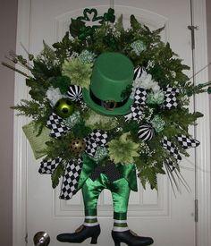St Patricks Day Wreath XXL Floral Custom OOAK Ready to SHIP Door Leprechaun | eBay