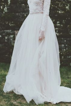 Soft tulle skirt, lace long sleeve wedding dress
