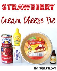 Strawberry Cream Cheese Pie Recipe! This simple No Bake dessert is the perfect grand finale to any dinner or holiday meal!  So quick to make with an easy graham cracker crust! | TheFrugalGirls.com