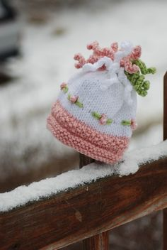Baby Girl Knit Hat Bobbles and Embroidered by deusprovidebit, $32.50