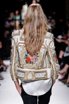 Baroque. Beaded. Floral. White. Gold. Jacket