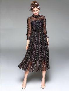 Resort Black Print Puff Sleeve Mock Neck With Belt Ruffle Hem Midi Dress