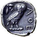 Mønt fra Athen med uglerelief