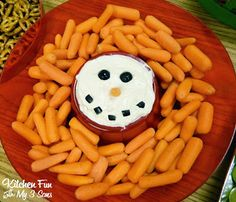Snowman Ranch Dip with Carrot Noses