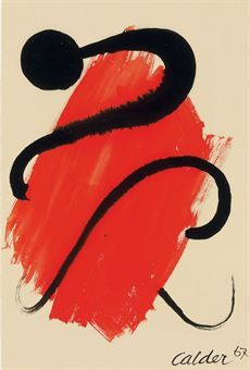 Untitled (1967) by American artist Alexander Calder (1898-1976). Gouache on paper, 22.875 x 15.375 in. via Christies