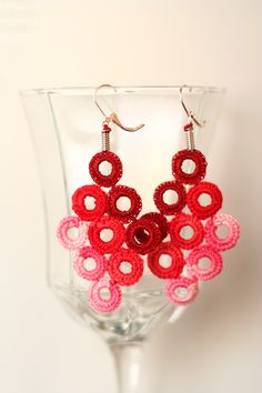 some red circle earrings by Unique Crochet Jewelry