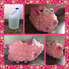Girls Valentine's Day School Box! All you need is: Clorox bottle, hot glue gun, pink spray paint(to pre-color the Clorox bottle) Pom-poms (a lot!), foam paper (for ears and nose), craft pipe wire (for the tail), craft bottle corks (for the legs), ribbon (for bow on tail) & wiggly eyes. It's