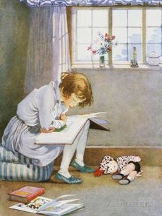 Book Illustration of a Girl Reading by Honor C. Appleton Fotografie-Druck