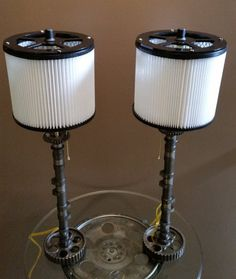 His & Her's Motorcycle Camshaft Lamp Set by CJ7Designs on Etsy