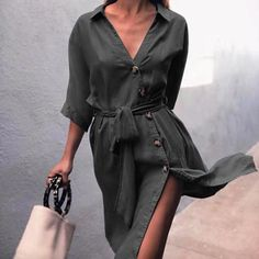 Shop Button Design Tied Waist Denim Shirt Dress right now, get great deals at Jo. - Shop Button Design Tied Waist Denim Shirt Dress right now, get great deals at Joyshoetique. Long Denim Dress, Denim Shirt Dress, Denim Shorts, Collared Shirt Dress, Vestidos Plus Size, Vestidos Sexy, Camisa Formal, Vestido Casual, Luxury Dress