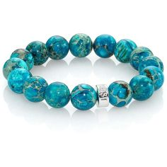 Nest Turquoise Jasper & Sterling Silver Logo Beaded Stretch Bracelet (90 AUD) found on Polyvore featuring women's fashion, jewelry, bracelets, pulseiras, pulseras, turquoise, apparel & accessories, bead jewellery, turquoise jewelry and sterling silver jewellery