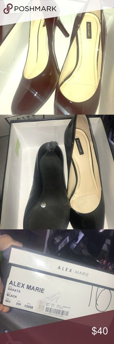 Alex Marie Round Toe Black Panted Leather Pumps Beautiful and Sophisticated black pumps! These are ideal for the stylish individual who wants to look the part but not kill their feet in the process. Heel size is conservative enough for work or church yet versatile enough to wear out on the town! ***Shoes are a size 10 but run a bit small (why I'm saying them). A 9 or 9.5 would fit perfect! This shoe is classic and can be used across your entire wardrobe. Alex Marie Shoes Heels