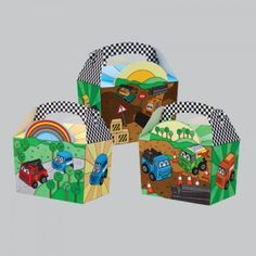 Motor Madness Meal Munch Boxes .  Gentlemen, start your engines! A great way to serve kids food to make meal time fun, or fill with racing party themed loot at your next race car driver party!  Dimensions: 152mm x 100mm x 102mm