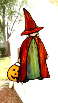 Little Halloween Witch Stained Glass by DodgeGlassStudio on Etsy