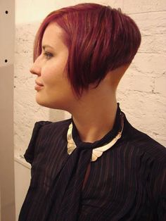 Steeply angled red bob