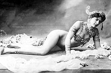 """Mata Hari was the stage name of Margaretha Geertruida """"Margreet"""" Zelle (7 August 1876 - 15 October 1917), a Dutch exotic dancer, courtesan, and accused spy[1] who was executed by firing squad in France under charges of espionage for Germany during World War I.[2]"""